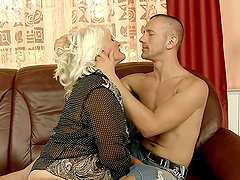 Blonde and Kinky Granny Judi Having Fun with Her Stallion