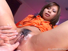 Heavily lubed Japanese pusy squirts from the vibrator play