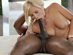 irresistible blonde takes his huge black dick and fucks it
