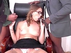 Ani Black Fox double fucked at work by two men