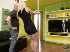DADDY4K. Slutty teen makes love with BF's old daddy behind..
