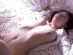 Seduction of a Japanese beauty ends in his cum on her stomach