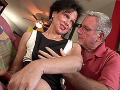 Mature Sage Hughes sucks an old cock and gets her hairy pussy fucked