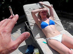 Sage comes in from sunbathing, removes her bikini and sits on his dick