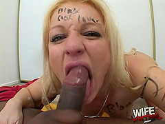 Fucking and cumming in a mouth of a used up blonde whore
