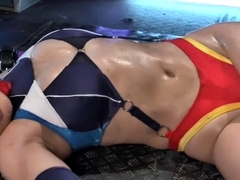 Busty Oriental girl in uniform indulges in wild sex action