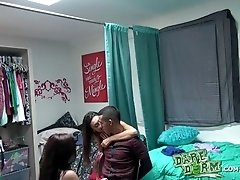 Two college babes seduce a stud and bang with him