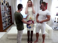 Luscious Russian blonde Milena Devi takes part in crazy blowbang video