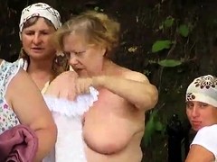Grannies in See Through Clothes Public Bathing - Voyeur