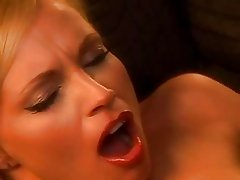 Cute blonde stewardess loves to play with big cock