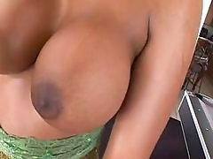 Big breasted ebony fucked on pool table
